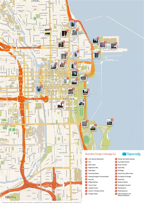 map of chicago map of chicago attractions tripomatic places to