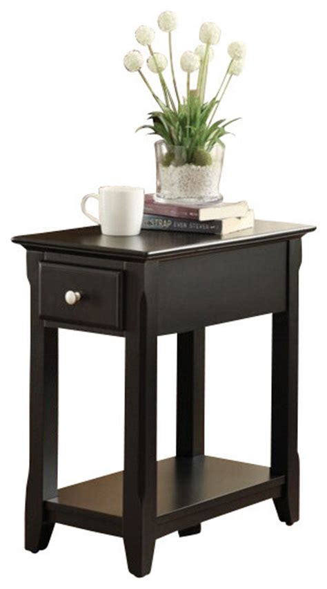 black accent table with drawer corin black finish wood chair side end table with drawer