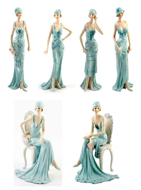 art deco lady l art deco broadway belles lady figurine gift ornament blue