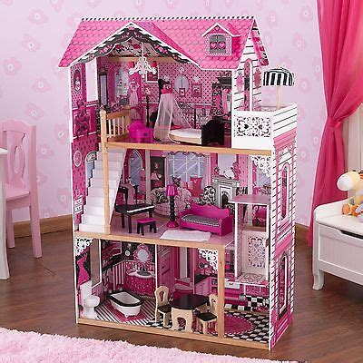 barbie doll house wooden barbie doll house kit wooden pink playset dream dollhouse