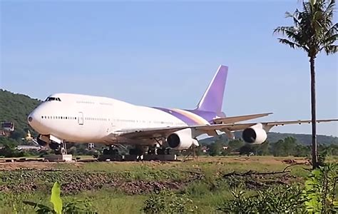thai villagers up to find abandoned jumbo jet in