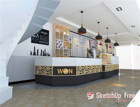 interior milk tea shop scene sketchup model  nguyen