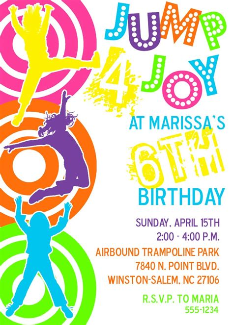 printable sky zone birthday invitations 1000 images about troline party on pinterest parks