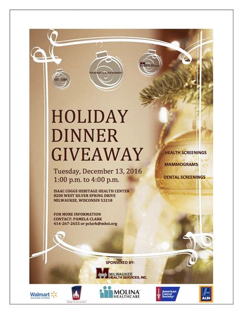 Holiday Giveaway - holiday dinner giveaway 2016 milwaukee health services