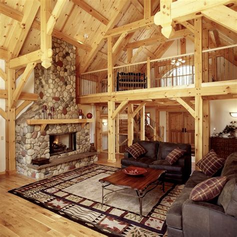 great room  loft  timberframe ski home rustic