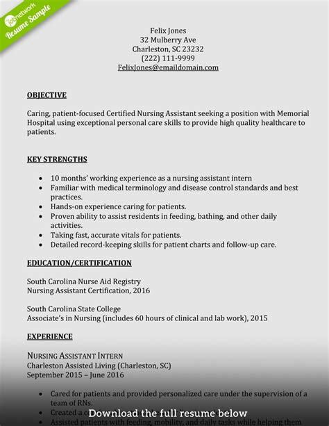 cover letter certified assistant sle resume for nursing assistant with no