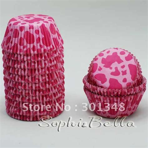 How To Make Cupcake Cases Out Of Baking Paper - 200 pcs pink cow print cupcake cases paper liners baking