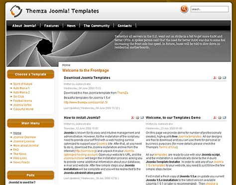 template joomla default free joomla 1 5 x templates vortex multi colour by themza