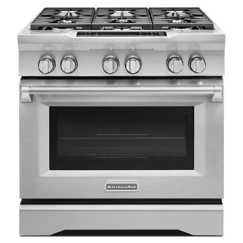 Oven Gas Stainless Steel kitchenaid commercial style 36 in 5 1 cu ft slide in
