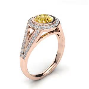 halo white yellow engagement ring by luxurman 1