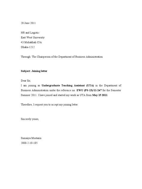 Service Joining Letter Format joining letter