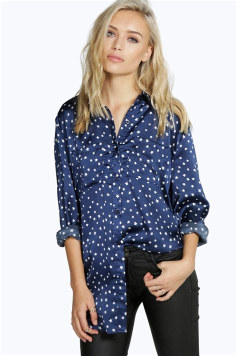 Wn Blouse Molly Navy molly silky print shirt