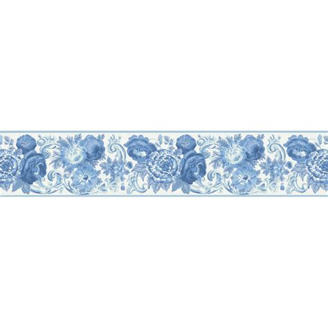 Kitchen Wall Art Stickers 451 1689 blue toile floral scroll brewster wallpaper borders