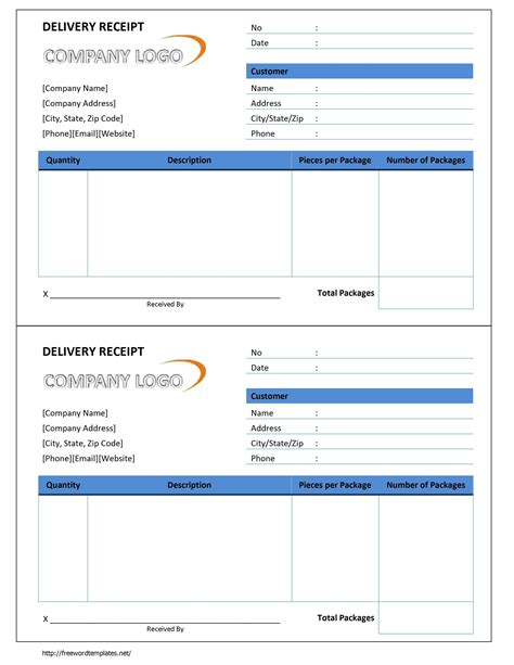 delivery form template free delivery receipt form template