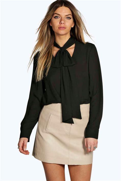 Bela Blouse By Morist 1 boohoo womens tie neck oversized blouse ebay