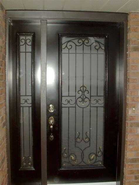 Glass Entry Door Inserts Steel Door With Wrought Iron Insert