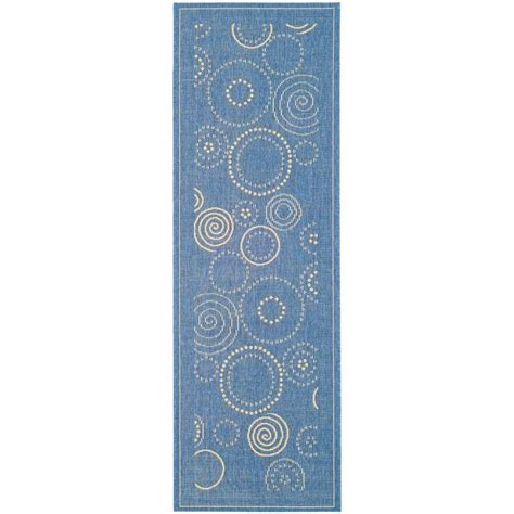 indoor outdoor rug runners safavieh courtyard blue 2 ft 3 in x 6 ft 7 in indoor outdoor runner cy1906 3103 27