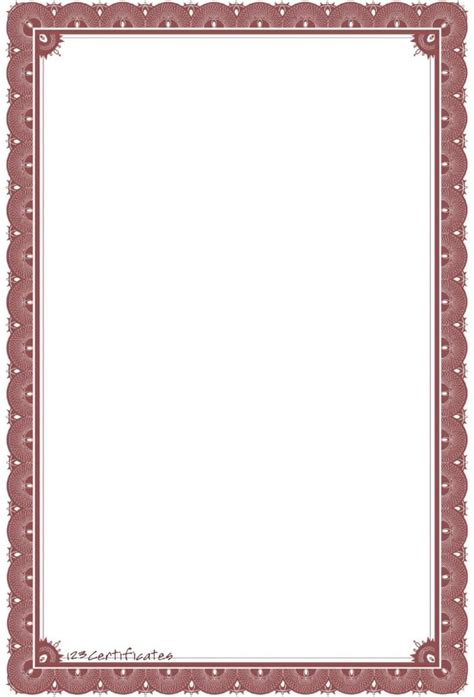 free printable certificate border templates border template for word selimtd