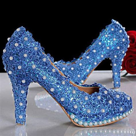 beautiful blue lace wedding shoes high heels