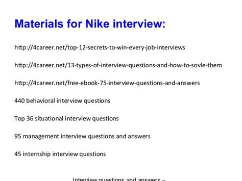 Nike Mba Internship Questions by Nike Questions And Answers