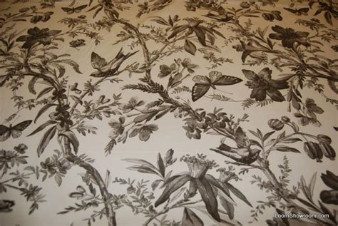 curtain fabric with bird print aviary toile ebony bird butterfly heavy weight cotton