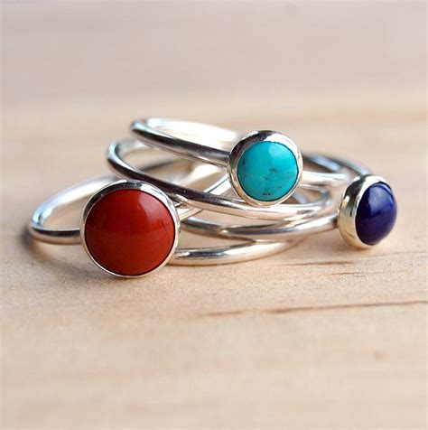 Handmade Gemstone Rings - handmade gemstone stacking rings by alison designs