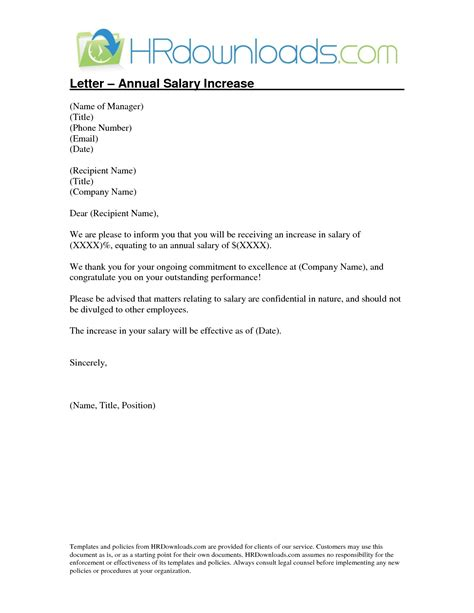 salary increase letter to employee the letter sle
