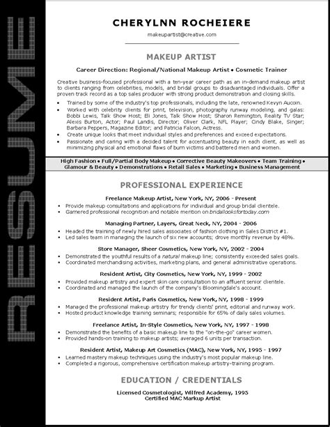 exle of makeup artist resume resume sle for makeup artist resume