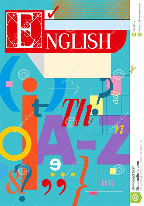 english cover textbook and notebook stock vector image