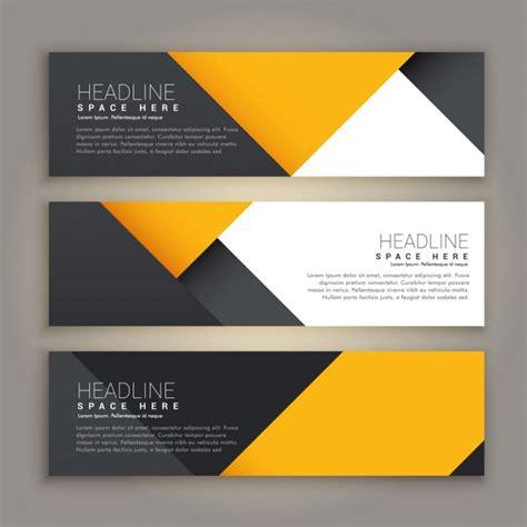 website header design creator three yellow and black geometric banners vector free