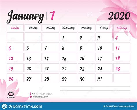 january  year template calendar  vector desk calendar design pink flower concept