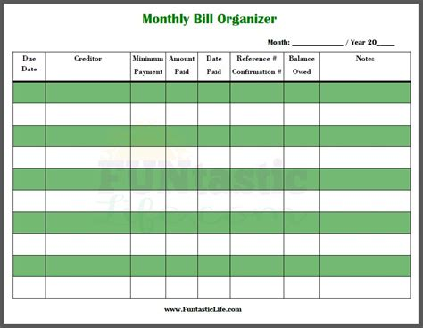 bills organizer template printable online calendar