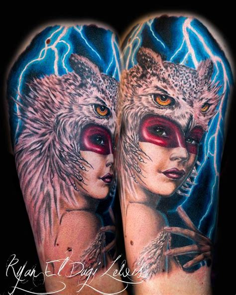 animal headdress tattoo owl headdress huntress by ryan el dugi lewis tattoos