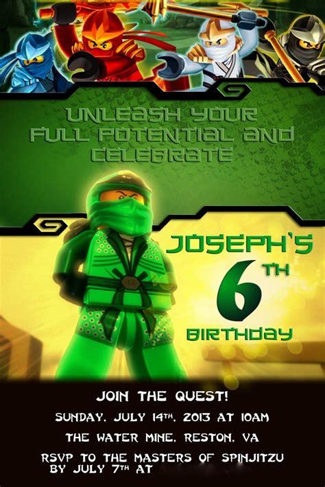 ninjago birthday card template ninjago invitation
