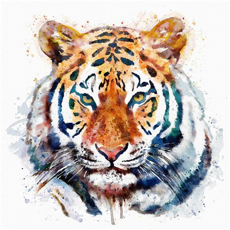 tiger head watercolor mixed media by marian voicu