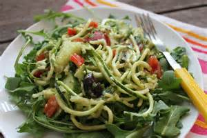 simple summer salad zucchini quot pasta quot salad with creamy avocado dressing
