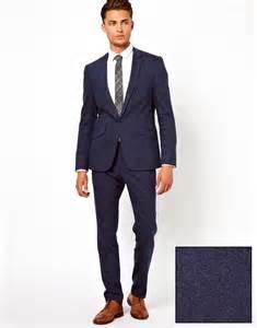 asos skinny fit suit jacket in navy fleck at asos