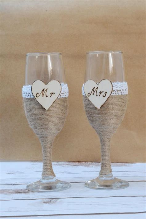 chagne flutes burlap toasting glasses rustic wedding