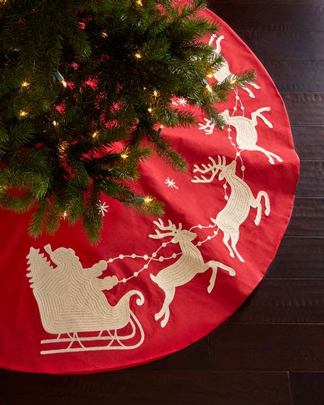 santa sleigh christmas tree skirt