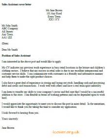 Cover Letter For Sales Assistant by Sales Assistant Cover Letter Exle Icover Org Uk