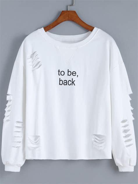 Sweatshirt Print cut out letter print sweatshirt shein sheinside