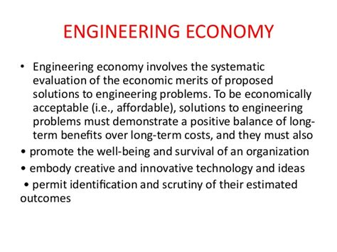 Economics Engineering 5 introduction to engineering economy
