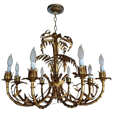 Leaf Chandelier Italian Gilt Metal Palm Leaf Chandelier At 1stdibs