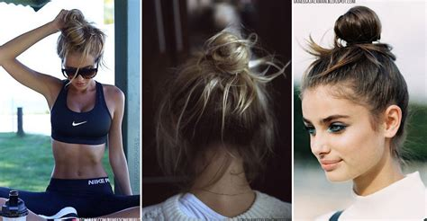 scruffy hair bun gym hair inspiration sheerluxe com