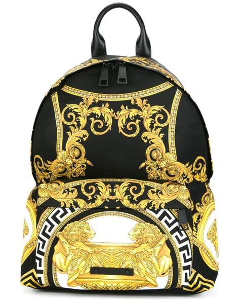 Versace Gold And Multi Colored Print Bag by Versace La Coupe Des Dieux Print Backpack In Black For