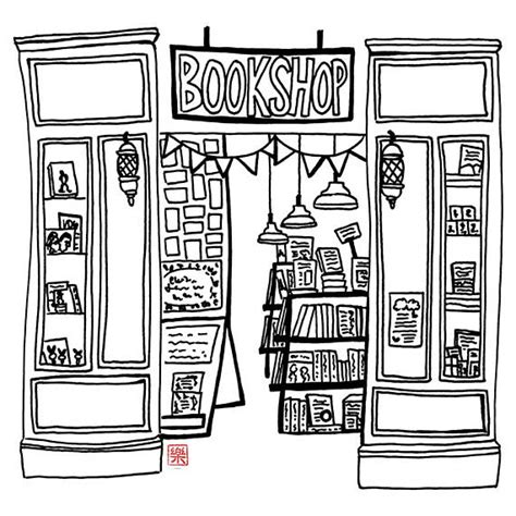 coloring book store printable melbourne bookshop sketch