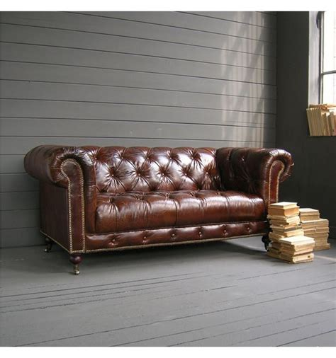 orchidea vintage leather chester sofa