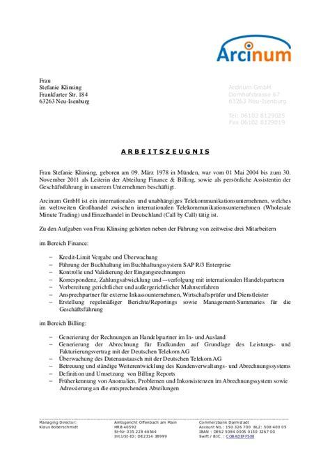 Letter Of Recommendation Zeugnis arbeitszeugnis arcinumgmbh