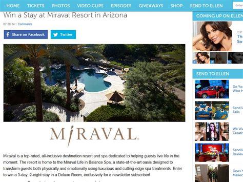 Arizona Sweepstakes - ellen degeneres show win a stay at miraval resort in arizona sweepstakes sweepstakes