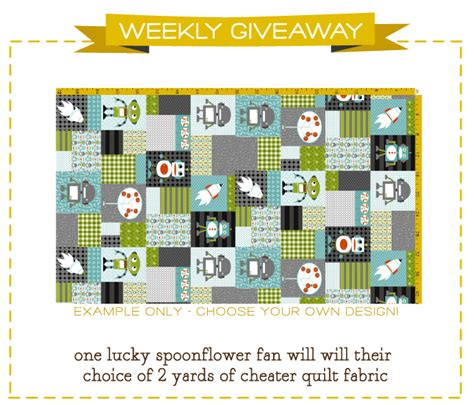 Quilt Giveaway by Cheater Quilt Fabric Giveaway Spoonflower